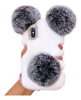 Funda iPhone Mujer Case Peluche Oso Panda Pompon Cute