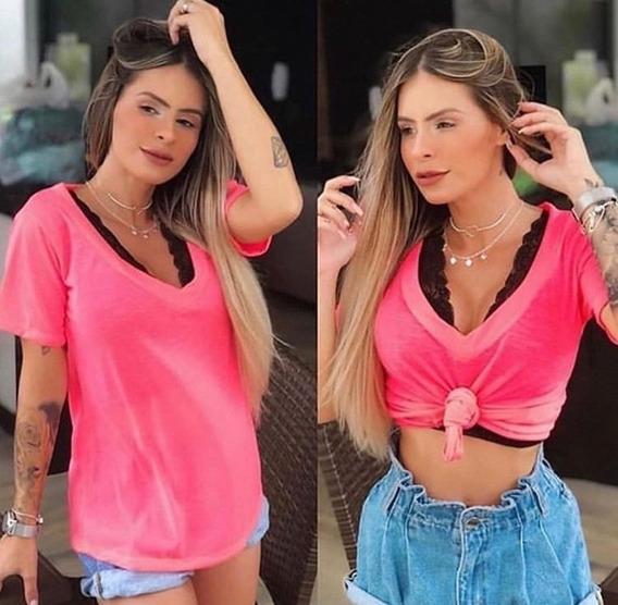 Blusa T Shirt Feminina Decotada Podrinha Cores - Blogueira