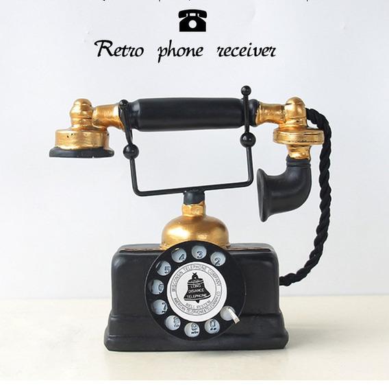 Retro Telefone Estatueta Resina Artes Retro Handset Telefone