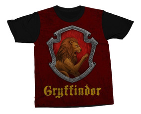 Kit Com 3 Camisetas Hogwarts Casas Harry Potter Camisa Blusa