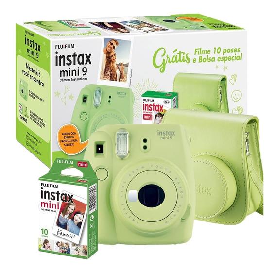 Máquina Fotográfica Fujifilm Mini 9 Filme 10 E Bolsa Verde