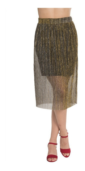 Falda Dama Casual Plisada Brillante Oro X83103