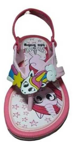 Sandalia Chinelo Infantil Menina Com Elastico Atras Unicorni