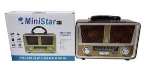Rádio Portátil Retrô Fm / Am / Sw / Usb