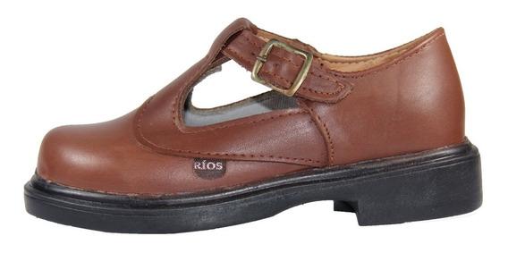 Zapato Colegial Rios Guillermina De Cuero Marrón 27 Al 33.