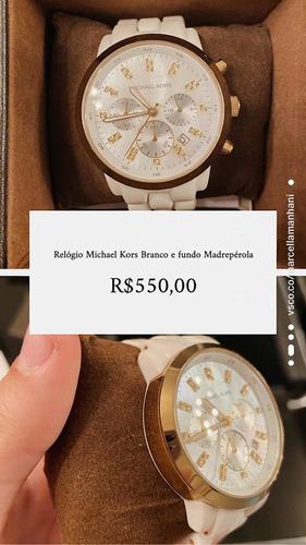 Relógio Michael Kors Branco Com Fundo Madrepérola Original