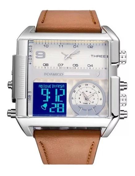 Relógio Boamigo Quadrado Branco C/ Prata 3 Fusos