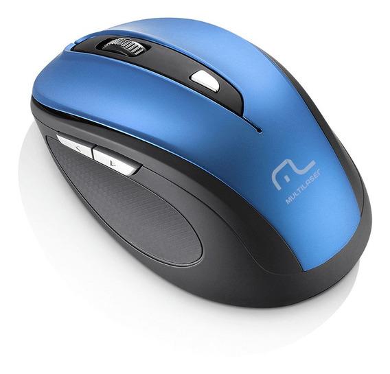 Mouse Sem Fio 1600dpi Usb 6 Botões Preto E Azul Multilaser -