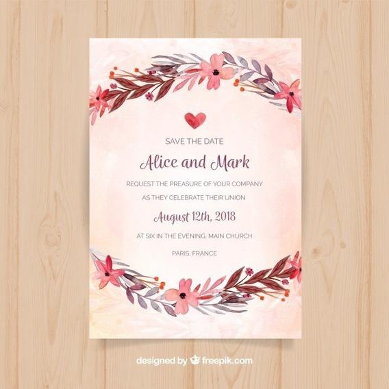 Invitacion Tarjeta Imprimible 15 Años Casamiento Floral M085