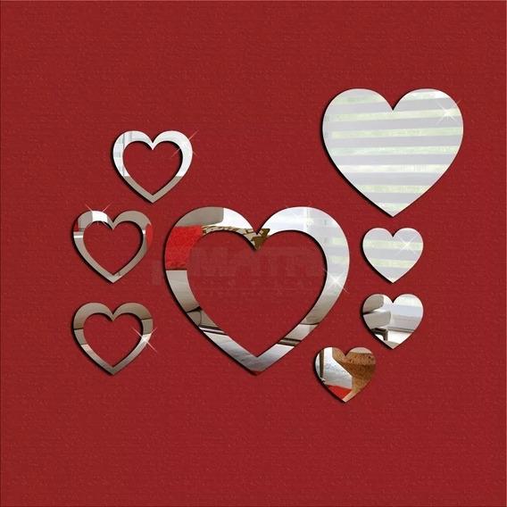 Espelho Decorativo Acrílico Coração Vazado Decoração 21cm