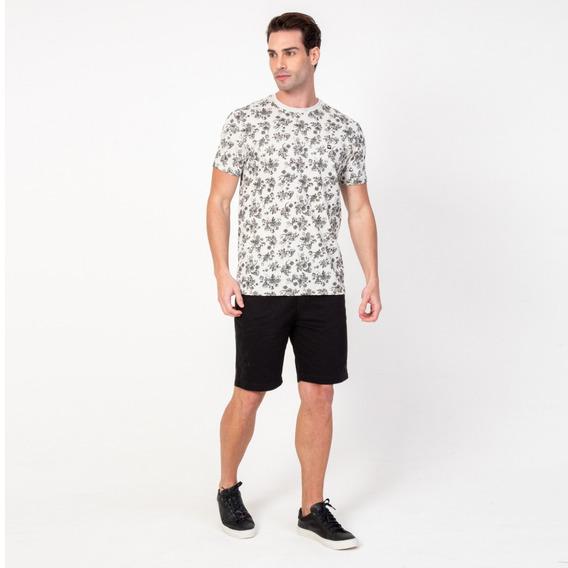 T-shirt Camisa Masculina Caveira E Flores Branca Vonpiper