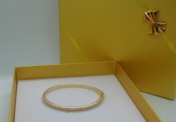 Pulseira Bracelete Folheado A Ouro Com Zirconia 15 Cm