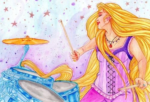 Aquarela Original Rapunzel Enrolados Princesas Disney Única
