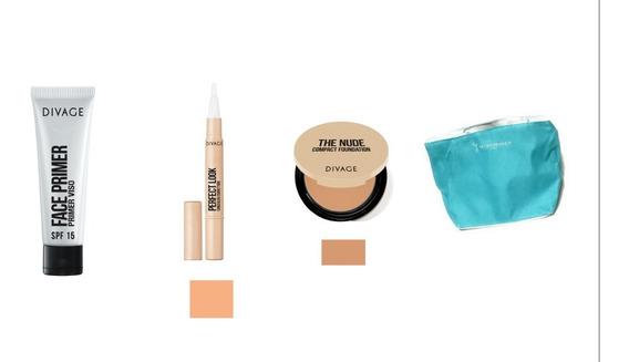 Combo Primer De Rostro Spf 15 25 Ml + Corrector Liquido Divage Perfect Look Beige Rosa 02 + Base De Maquillaje Compacta