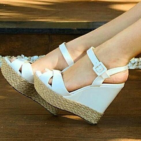 Sapatos Femininos Sandálias Anabela Lancamento Corda Moda