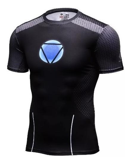 Camisa Compresion Marvel Avengers Endgame Iron Man 3 Tony Stark Playera Hombre Manga Corta Licra Crossfit Gym Rashguard