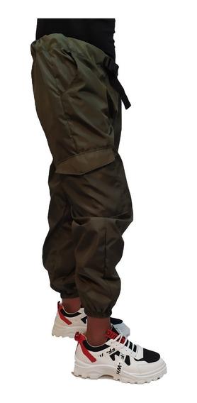 Pantalon Joggers Hip Hop Con Cinturon Cargo Verde