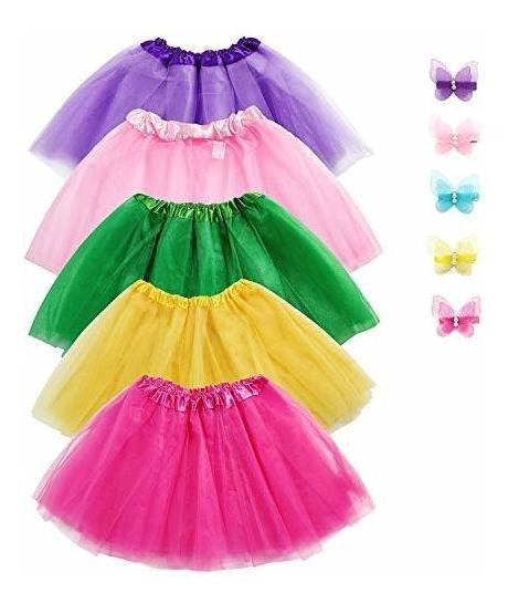 Sinuojuego De Faldas De Tutú Para Niñas (5 Unidades 3 Capas