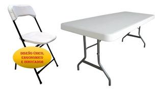 Paquete Mesa Tablon Tipo Lifetime 10 Silla Plegable Plastica