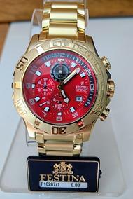 Relógio Festina Chrono Bike F16287/1 Gold Fundo Vermelho