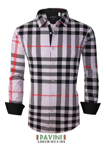 Camisa Caballero Manga Larga Marca Pavini Ls019-11-4 Cuadros