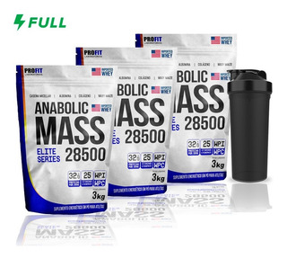 Combo 3x Hipercalórico Anabolic Mass 28500 3kg + Brinde