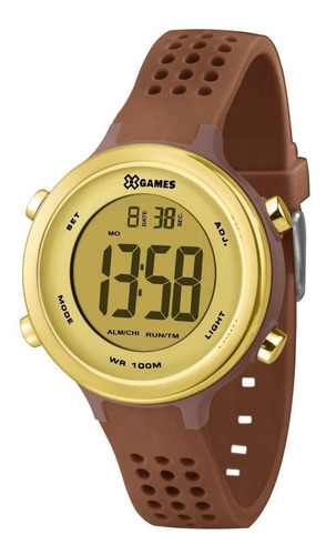 Relógio X-games Xfppd065 Cxnx Feminino Marrom E Dourado