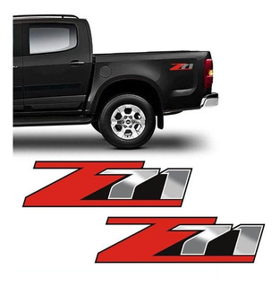 Par De Adesivos Chevrolet Z71 S10 Vermelho E Preto Lateral