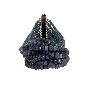 Pulseira Com 700 Pedras Naturais Denim Blue Em Ródio Negro