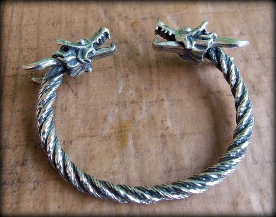 01) Pulseira Viking Torc Torque Celtic Dragon - Prata Maciça