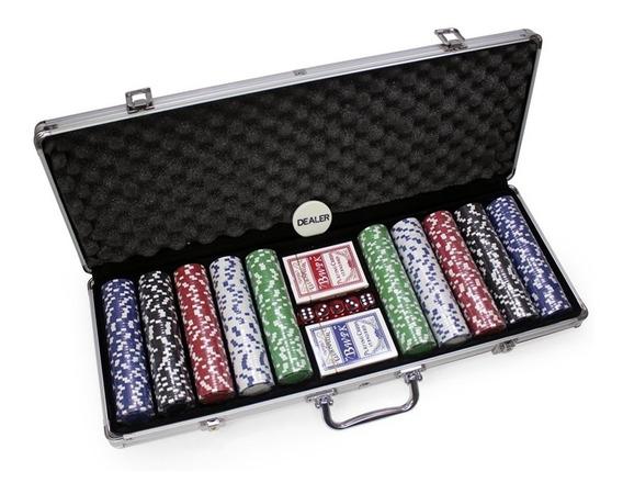 Maleta Poker 500 Fichas Oficiais Sem Numeração + Toalha
