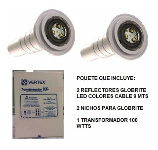 Paquete 2 Reflectores Globrite Led Color 12v Y Transformador