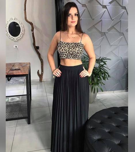 Saia Longa Plissada Preta Feminina Moda Blogueira 2019