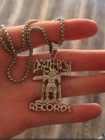 Colar Death Row Records Cor Prata Pronta Entrega Hiphop 2pac