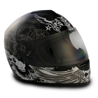 Casco Grafico De Cara Completa Vcan V136 Dark Angel Black,