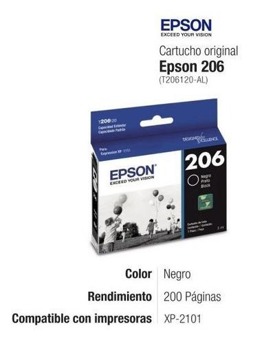 Cartucho Epson 206 Negro T206 Original Para Xp 2101