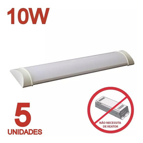 Luminaria Tubular Sobrepor Led Linear 30cm Calha 10w Kit C/5