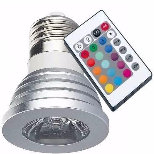 Kit 4 Lampada Spot C/ Controle Remoto Led Rgb 3w 16 Cores