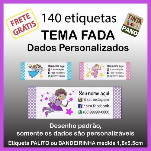 140 Etiquetas Com Desenho De Fada Seus Dados Personalizados.
