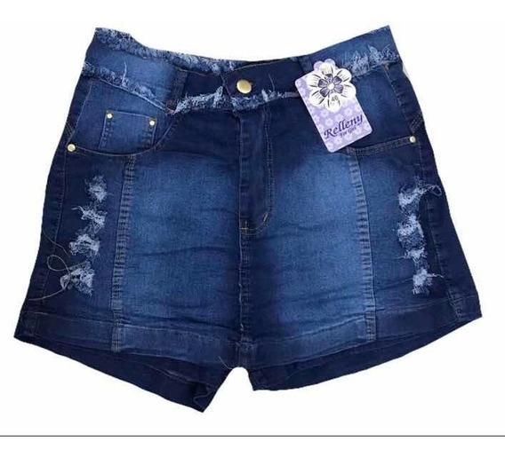 Short Saia Jeans Lançamento Cintura Defiada Com Elastano