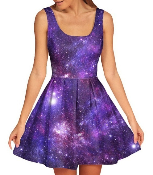 Vestido Feminino Doll Boneca Galaxia Galaxy Nebulosa 3d #8