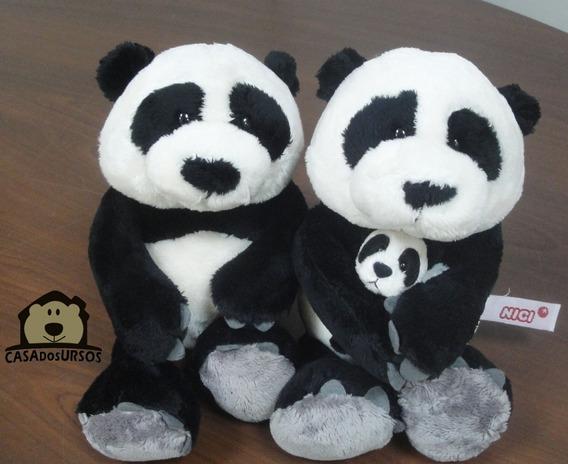 Família Panda Urso Pelúcia Nici Top 25 Cm + 25 Cm Filho 8 Cm
