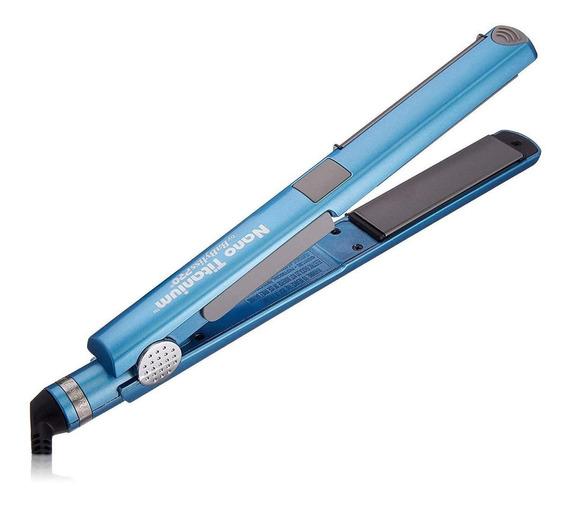 Prancha de cabelo BaByliss PRO U Styler azul com placas de cerâmica e titânio 110V - BABNT2071