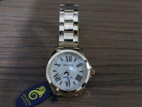 Relógio Atlantis Feminino Dourado C/ Algarismos Romanos
