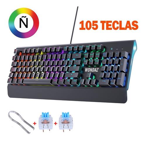 Imagen 1 de 6 de Teclado Gamer Español Con Ñ Led Alambrico Teclado Mecanico