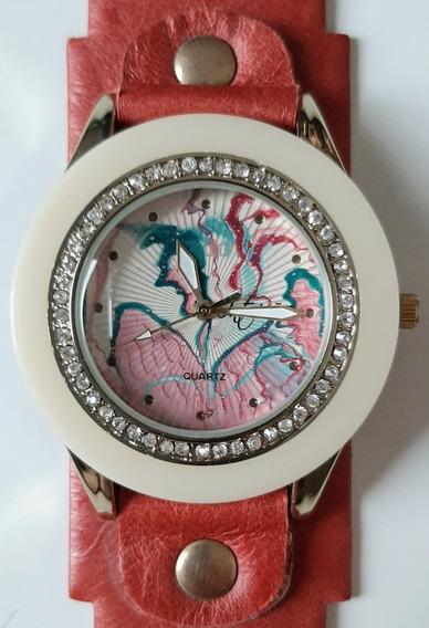 Relógio De Pulso Com Pulseira Vermelha