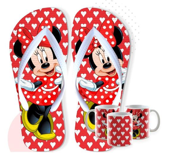 Chinelo Mickey E Minnie Com Caneca De Brinde Envio Em 24hs