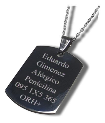 Placa Identificación Personal En Acero Quirurgico