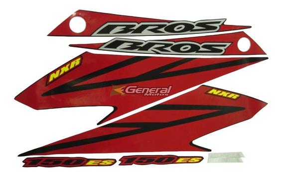 Kit Adesivo Jogo Faixas Moto Honda Bros 150 2008 Es Preta