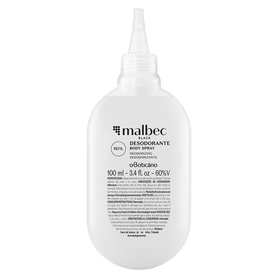 Refil Malbec Black Desodorante Body Spray, 100ml O Boticário